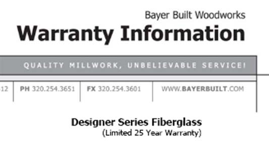 You are currently viewing Bayer Built Doors Designer Series Limited Warranty