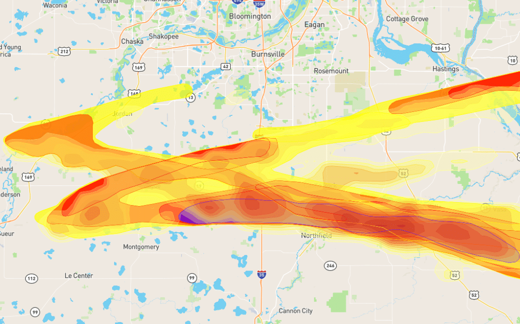 Map of Hail Damage to Roofing in Lonsdale, MN